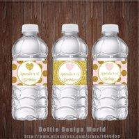 золотые бутылки с водой оптовых-Новый дизайн Принцесса партии бутылки воды этикетки Золото Розовый Блеск сердца Candy Bar Birthday Baby Shower партии украшения Поставщик