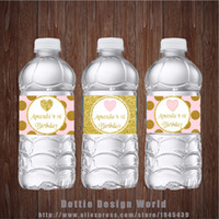 Wholesale suppliers birthday party decorations resale online - New Design Princess Party Water Bottle Labels Gold Pink Glitter Heart Candy Bar Birthday Baby Shower Party Decoration Supplier