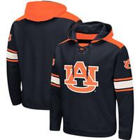 sudaderas de encaje al por mayor-Las sudaderas con capucha de Auburn Tigers Lace-Up Pullover, aceptan fútbol americano, béisbol, hockey, equipos de baloncesto, envío gratis