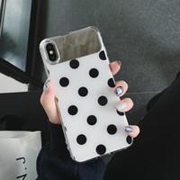 iphone wave back case toptan satış-YunRT ORYKSZ Lüks Dalga Noktası Ayna Telefon Kılıfı Için Iphone X XS XSMAX X Kılıfları iPhone 8 7 6 6 s Artı Basit Silikon Arka Kapak