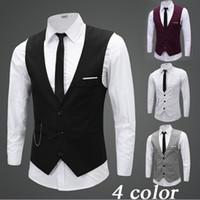 erkek takım elbise yelek gri toptan satış-Siyah Gri Damat Zincir Damat ile Yelek Yelek Slim Fit Erkek Suit Yelek Balo Düğün Yelek Fress Nakliye