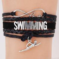 deri yüzmek toptan satış-Kadın Erkek Takı Çift Moda Tasarımı Dokuma Halat Bilezik Hediyesi için Infinity Aşk Yüzme kolye Charm Çok katmanlı Deri Bileklik
