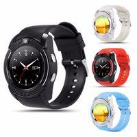 bluetooth наручные часы для android оптовых-Для apple V8 умные часы наручные часы smartwatch bluetooth Часы с слотом для SIM-карты Контроллер камеры для iPhone Android Samsung Мужчины Женщины PK DZ09