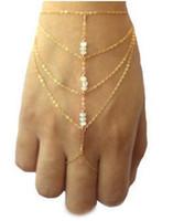 Wholesale slave gifts resale online - New Boho Jewelry fashion Multi golden chain tassel finger ring bracelet chain slave bracelets and short bangle