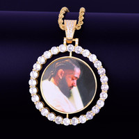 doppelseitige anhänger großhandel-Custom Made Foto drehen doppelseitige Medaillons Anhänger Halskette Cuban Link Kette Zirkon Herren Hip Hop Schmuck 2 x 1,65 Zoll