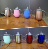 ingrosso bicchieri di bambù tazze-Personalizzato Logo Sippy Cup Versamento a prova di bambino 10 oz tazze Tazze baby ciuccio bottiglie tazze di uova tumbler libero sicuro isolamento termico thermos