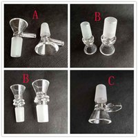 Wholesale glass bongs dry herb for sale - Group buy Thick Round Glass Bowl Herb Dry Oil Burners With Handle Types mm mm male For Smoking Tools Accessories Glass Bongs Bubble