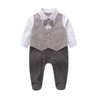 Wholesale baby clothes anchors resale online - Baby anchor printed romper toddler kids Bows tie waistcoat fake two piece jumpsuits infant newborn kids cotton diaper baby boy clothes F9446