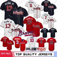 cesur beyzbol toptan satış-13 Ronald Acuna Jr. Beyzbol Formaları Atlanta 5 Freddie Freeman 10 Öğütücü Jones Braves 150. Yıldönümü 44 Hank Aaron 3 Murphy Dikişli