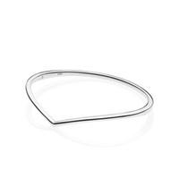 925 pulseras de plata para niñas al por mayor-NUEVA pulido Wishbone brazalete sólido pulsera de plata de ley 925 caja original de joyería de Pandora de regalos muchachas de las mujeres conjuntos de pulsera