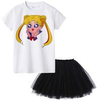 kızlar için güzel üstler toptan satış-Güzel Kız Yaz Giyim Seti Moda Çocuk Giyim Suit Tops + Tutu Etek Elbise 2 Adet Bebek Giysileri