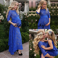 Wholesale modern lighting uk online - Rustic Full Lace Evening Dresses For Pregnant Women Blue Jewel Ankle Length Elegant Prom Formal Dresses With Half Sleeve Uk Plus Size Outfit