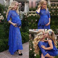 Wholesale royal blue evening dresses uk resale online - Rustic Full Lace Evening Dresses For Pregnant Women Blue Jewel Ankle Length Elegant Prom Formal Dresses With Half Sleeve Uk Plus Size Outfit