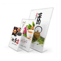 a4 tutucu ayak toptan satış-A4 Plastik Masaüstü Sayaç Poster Tutucu Burcu Ekran Standı Akrilik Resim Kağıt Menü Çerçeve Afiş Broşür Belge Işareti Standı