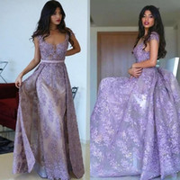 Wholesale special occasion dresses coral resale online - Mermaid Dresses Evening Wear Lavender Lace Applique Beaded Prom Dress Custom Made Sheath Formal Women Arabic Special Occasion