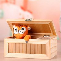 Wholesale tiger electronics for sale - Group buy Wooden Electronic Useless Box Cute Tiger Funny Gift Kids interactive toys Stress Reduction Decoration Cartoon tiger creative box free TNT