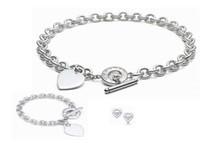 925 china herz halskette großhandel-Hohe qualität promi design brief 925 liebe silber ring armband ohrringe halskette tafelsilber metall herzförmigen schmuck-set 3 stück mit box