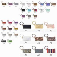37 Styles PU Leather Phone Wallet O Key Rings Women Clutch Wristlet Bracelets Keychain Bracelet Key Chain Party Favor ZZA2366 50Pcs