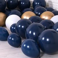 décorations bleu marine achat en gros de-100pcs marine ballons bleus 5 '10