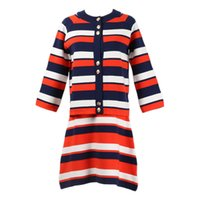 Wholesale quality womens size clothing online - 2019ss High Quality Luxury Brand Striped Womens Clothing Two Piece Fashion Dresses Slim O Neck Long Sleeve Sweater Knit Skirt Size S L