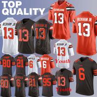 jersey marrón 73 al por mayor-13 Odell Beckham Jr jersey marrón Baker 6 Mayfield Denzel 21 Ward Joe 73 Thomas Jarvis 80 Landry Myles 95 camisetas Garrett