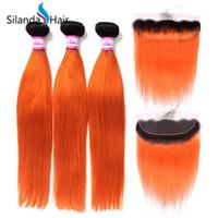 ingrosso capelli moda remy tesse-Silanda Hair Fashion Ombre # T 1B / Arancione Capelli Brasiliani Remy Brasiliani Tesse 3 Fasci di Tessitura con 13X4 Frontali di Pizzo Spedizione Gratuita