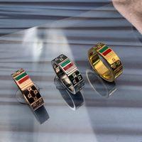 schmuck gold frau ring großhandel-2019 neue Marke Schmuck edelstahl 18 karat silber gold rose vergoldet grün 6mm ringe anels Für Frauen männer