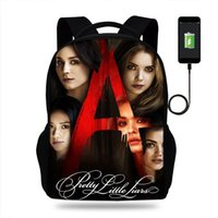 jolies filles à dos achat en gros de-Pretty Little Liars Port USB sacs d'école grand sac à dos pour les adolescents sac à dos lycée sac à dos pour sac de voyage pour filles
