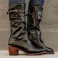 chunky saltos altos tamanho 43 venda por atacado-Mulheres Cowboy Botas Botas Vintage Buckle Plataforma Martin Sapatinho Zip Heel Chunky Ankle Boots saltos altos sapatos tamanho 43