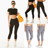 hochwertige damen leggings großhandel-Damen High Waist 3/4 Länge Leggings Capri Cropped Sommer Yoga Fitness Laufen Gym Sport Trainingshose Hohe Qualität