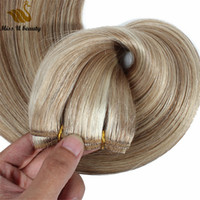 Wholesale silver blonde hair for sale - Group buy 200gram Cuticle Aligned Hair Extensions Flat Weft Human Hair Bundles Blonde Platinum Pink Silver Color Remy Hair