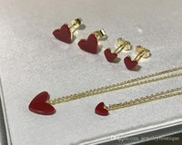 Wholesale red rose coral jewelry for sale - Group buy Elegant S925 Sterling Silver large and small red nature coral heart shape Pendant Necklace and earring for Wedding Necklace Women jewelry se