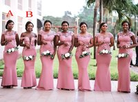 Wholesale green nigerian wedding dresses plus size resale online - African Nigerian Pink Bridesmaids Dresses Mermaid Plus Size Sheer Neck Lace Appliques Floor Length Wedding Guest Maid Honor of Dress