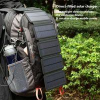 mp5 şarj cihazı toptan satış-KERNUAP SunPower katlanır 10 W Güneş Pilleri Şarj 5 V 2.1A USB Çıkışı Cihazları Akıllı Telefonlar için Taşınabilir Güneş Panelleri