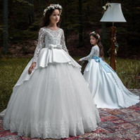 Wholesale image wedding dresses for girls for sale - Group buy Newest Arabic Style Flower Girl Dresses Vintage Long Sleeves Pageant Dresses Formal Girl Dresses For Wedding BC0998