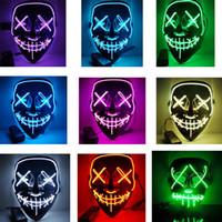 cadılar bayramı rave partisi toptan satış-Cadılar bayramı El Tel Maske Soğuk Işık Hattı Hayalet Korku Maskesi LED Parti Cosplay Masquerade Sokak Dansı Cadılar Bayramı Rave Oyuncak Aksesuarları LJJA2812