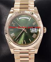 nuevo día rosa al por mayor-Fábrica BP Nuevo modelo correa Reloj Presidente 40 mm Día-Fecha 228235 18K Rose Gold Green Roman Dial para hombre relojes