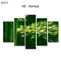 marco de fotos digital cuadrado al por mayor-Venta caliente Clear Green bamboo scenery Alta Calidad HD Impreso 5 Unidades de Lona Wall Art imágenes para sala de estar Decoración Del Hogar sin marco