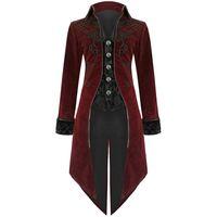 coole trenchcoats großhandel-2019 Männer Weinlese-gotische Long Jacke Herbst Retro kühle konstante Kostüm Trenchcoat Steampunk Frack-Knopf-Mantel-Männer