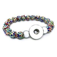 schnappverschluss armbänder großhandel-Neue Ankunft 029 Austauschbare Schmuck Süßigkeiten Farben Erweiterbar Perlen Stretch Glasperlen Armband 18mm Druckknopf Schmuck