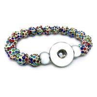 cam düğmeler toptan satış-Yeni Varış 029 Değiştirilebilir Takı Şeker Renkler Genişletilebilir Boncuk Streç Cam Boncuk Bilezik 18mm Snap Düğmesi Takı