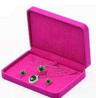 conjuntos de caja de joyería de terciopelo al por mayor-17x12x3.5 cm caja de regalo collar de la caja del conjunto de la joyería del terciopelo para el almacenamiento de la exhibición del conjunto de la joyería envío libre más color para la opción rosa caliente