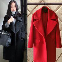 casacos de mulheres de moda de inverno coreano venda por atacado-Mulheres Casaco de inverno Coreano 2019 Moda Vintage Misturas de Lã Coats Mulheres Turn-down Collar Sobretudo Fino Formal