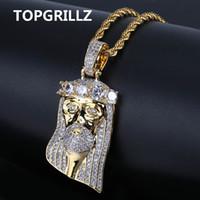 tipo pingentes de ouro venda por atacado-Topgrillz Hip Hop Nova Moda Banhado A Ouro Cor Iced Out Big Cz Pedra mascarada Jesus Rosto Pingente de Colar de Cristal Com Três Tipo J190712
