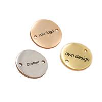 15 mm konektör toptan satış-Paslanmaz Çelik Yuvarlak Charm Özel Kendi Logo 15mm Iki Delik Lehçe Ayna Yüzey Charms Bağlayıcı Diy Kolye 50 adet / grup