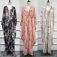 roupa islâmica jilbab abaya venda por atacado-Abaya Dubai Kaftan Islão Longo Batwing Cardigan Floral Muçulmano Hijab Vestido Abayas Para As Mulheres Jilbab Caftan Turco Roupas Islâmicas