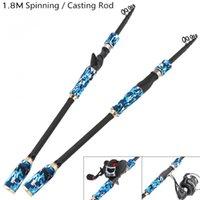 señuelos de pesca al por mayor-1.8m Azul de fibra de carbono Señuelo de la caña de pescar Spinning Casting Rod 5 Sección ultraligera Caña de pescar de viaje señuelo de pesca