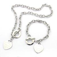 büyük kalp küpeleri toptan satış-Yüksek Kalite Marka büyük kalp Takı seti Paslanmaz Çelik Altın gümüş gül altın Kaplama kadın kalp kolye kolye küpe set kalın zincir