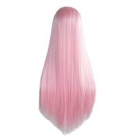 ingrosso fabbrica di capelli lunghi-Prezzo di fabbrica 1pc donne moda donna rosa + bianco dritto lungo pizzo anteriore capelli 24 pollici cosplay parrucche del partito Stand Stocked Feb20