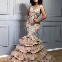 Wholesale new sexy chocolate tulle mermaid for sale - Group buy 2020 New Design Tiered Mermaid Prom Dresses Sheer Scoop Neck Lace Appliques abendkleider Arabia Women Formal Evening Party Gowns Custom